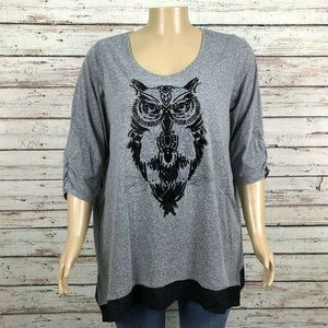 Catherines Gray Flocked Owl Print T-shirt Top